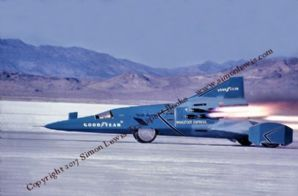 Wingfoot Express II rocket car photo. Bobby Tatroe at speed Bonneville 1965